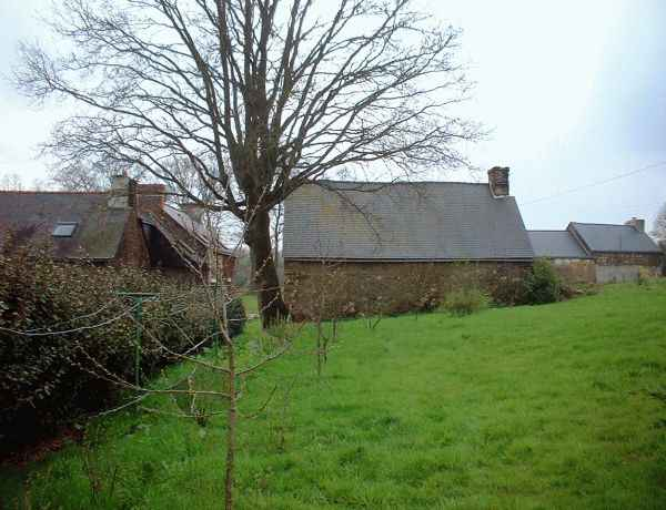 Back garden of the Gite, Oak tree, barn and house