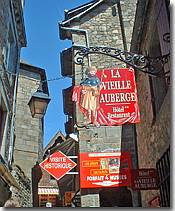 Hotels and restaurants in the narrow streets of Mont St Michel